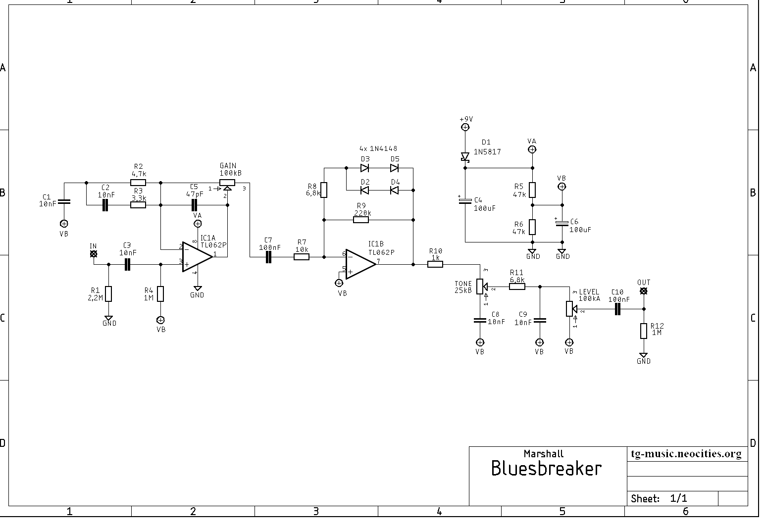 Marshall Bluesbreaker mkI Schematic