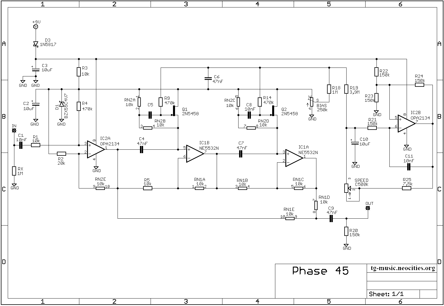 MXR Phase45 Schematic